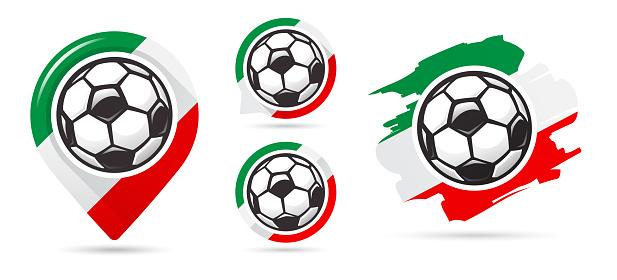 Italian football vector icons. Soccer goal. Set of football icons.
