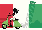 A cute girl on a scooter against an italian flag, coliseum, leaning tower of pisa, venetian bridge and church background. All elements are separate for easy editing. Click below for more travel and vacation images