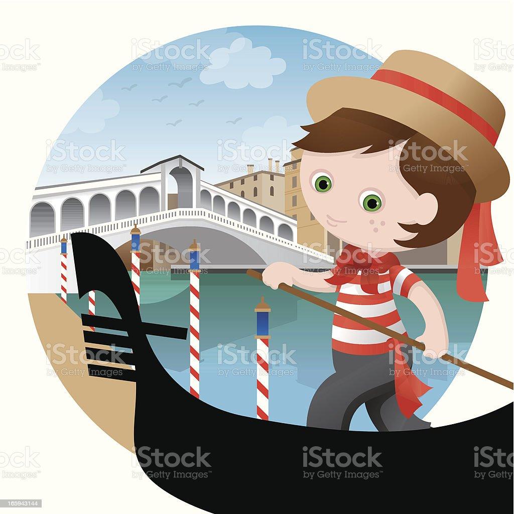 Italian Gondolier boy vector art illustration