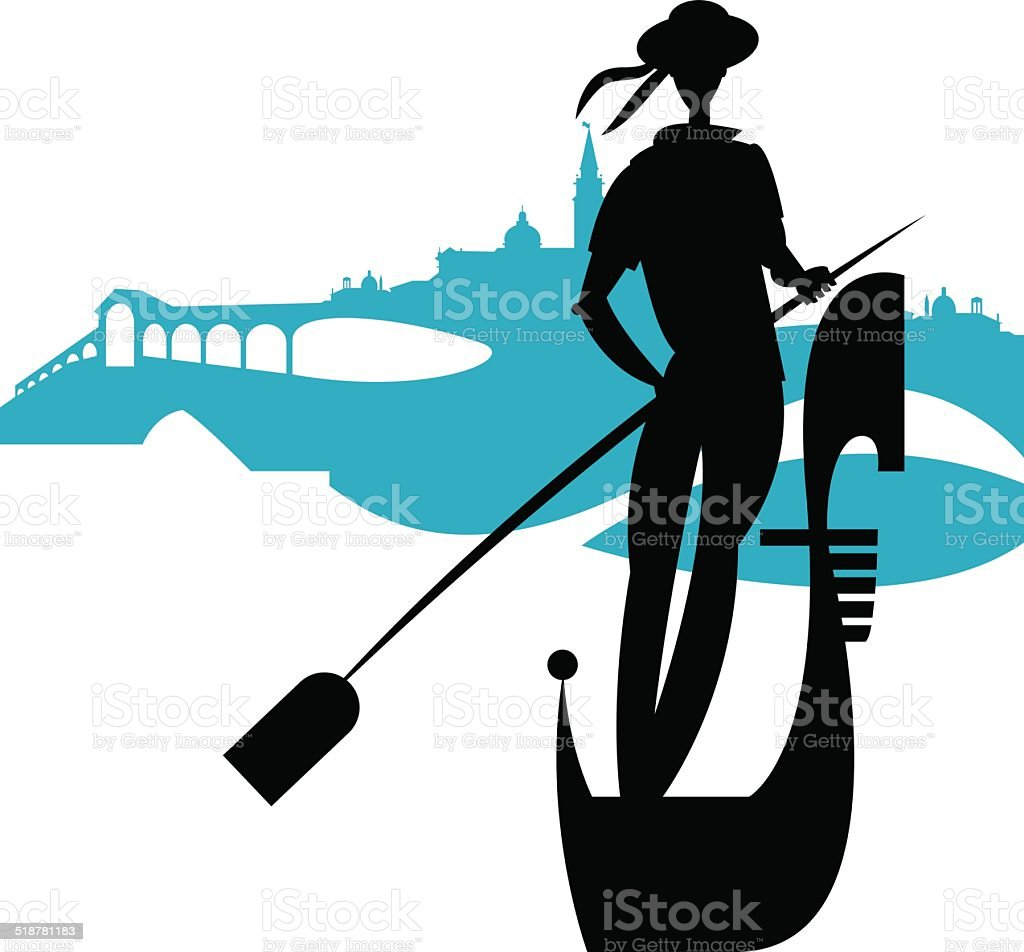 Italian gondolier. vector art illustration