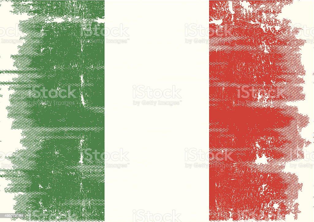 Italian grunge flag vector art illustration