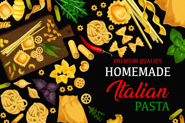 Italian homemade pasta, vector menu Italian vector homemade pasta. Macaroni, penne and fusilli, fettuccine or tagliatelle, lasagana and farfalle food restaurant menu cover. Vector traditional Italy cuisine spices and herbs with pasta tortellini stock illustrations