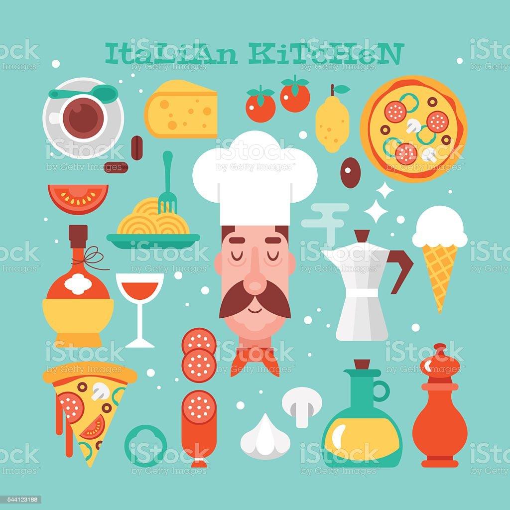 Italienische Küche Essen Flach Moderne Ikonen. Vektor Illustration  Lizenzfreies Italienische Küche Essen Flach Moderne