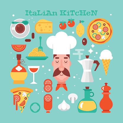 Italian kitchen food flat stylish icons. Vector illustration