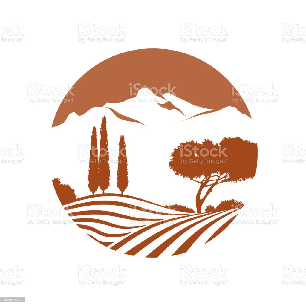 italian landscape with mountains vector icon vector art illustration