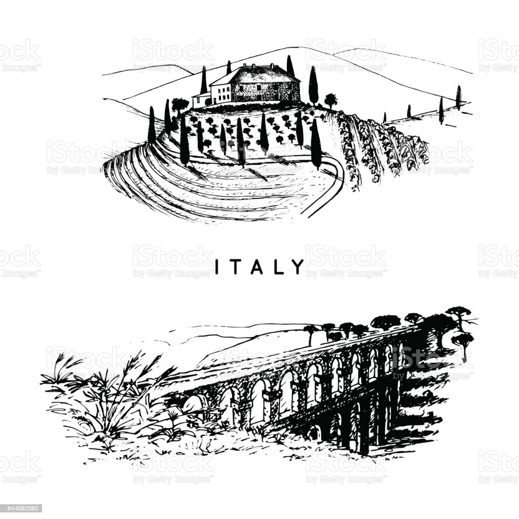 Italian landscapes set with roman aqueduct and Tuscany villa. Vector hand sketched illustration of Italy sights. vector art illustration
