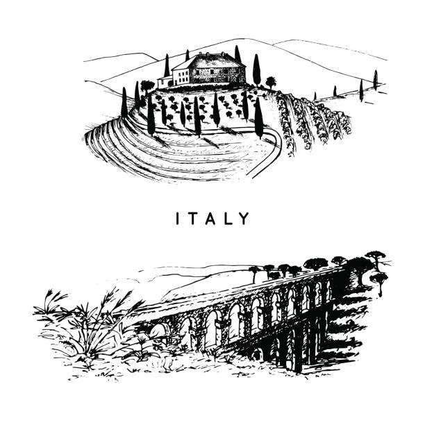 italienische landschaften set mit römischen aquädukt und toskana-landhaus. vektor hand skizzierte darstellung von italien sehenswürdigkeiten. - villas stock-grafiken, -clipart, -cartoons und -symbole