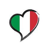Italian love heart grunge icon isolated on white background. Love Italy flag. Travel italian. Vector stock