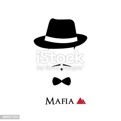 istock Italian Mafioso face on white background. Vector illustration. 686507634