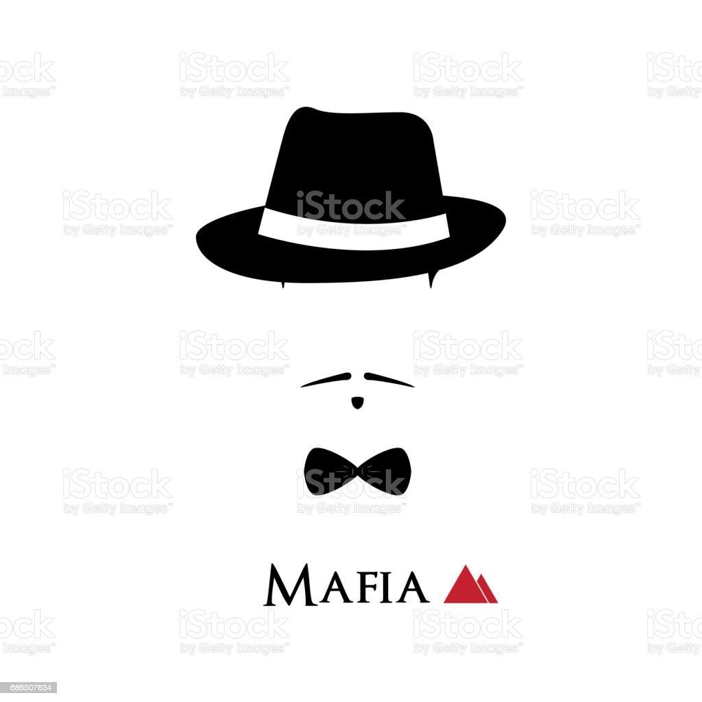 Italian Mafioso face on white background. Vector illustration. vector art illustration