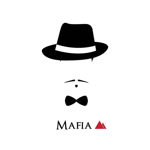 italian mafioso face on white background. vector illustration. - gangster stock illustrations, clip art, cartoons, & icons
