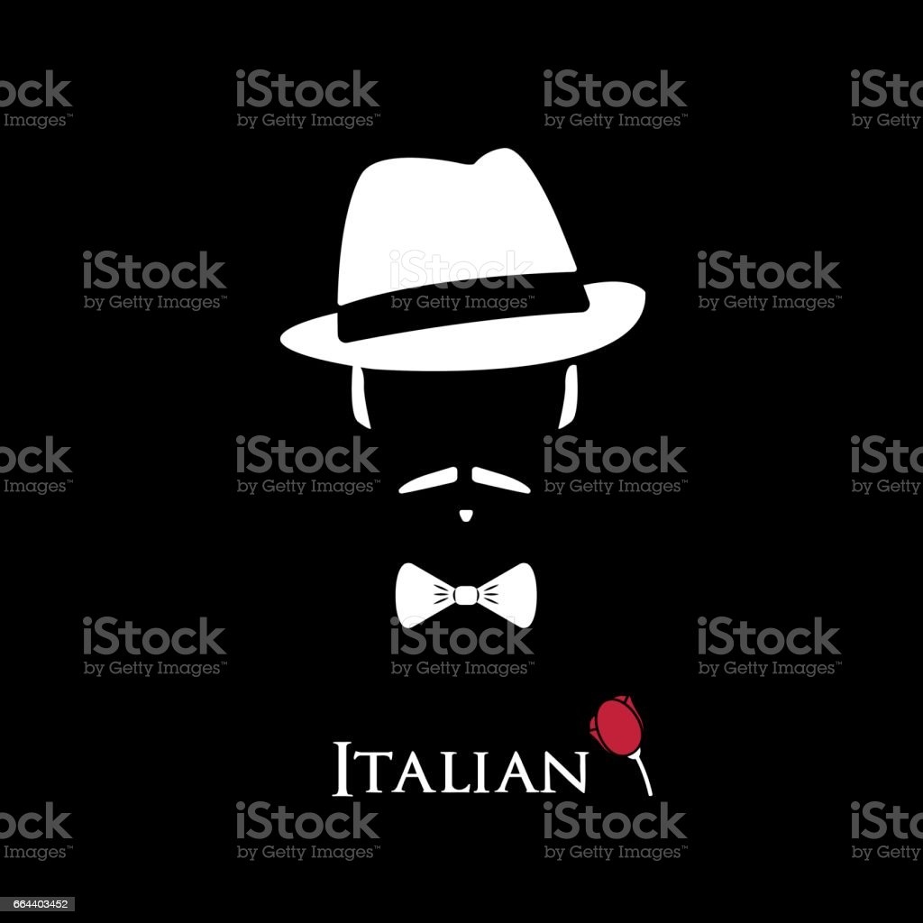 Italian Mafioso. Illustration Man with a mustache and bow tie. Colorful and stylish flat vector character icon. vector art illustration