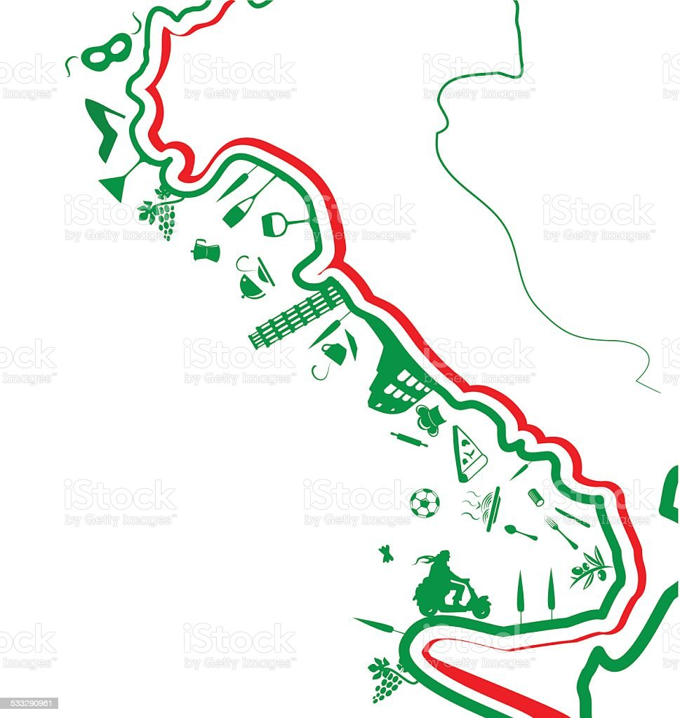 italian map whit symbol on white background vector art illustration