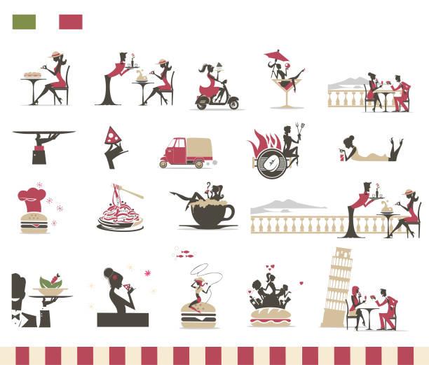 Restaurante italiano do menu-silhuetas do vetor - ilustração de arte em vetor