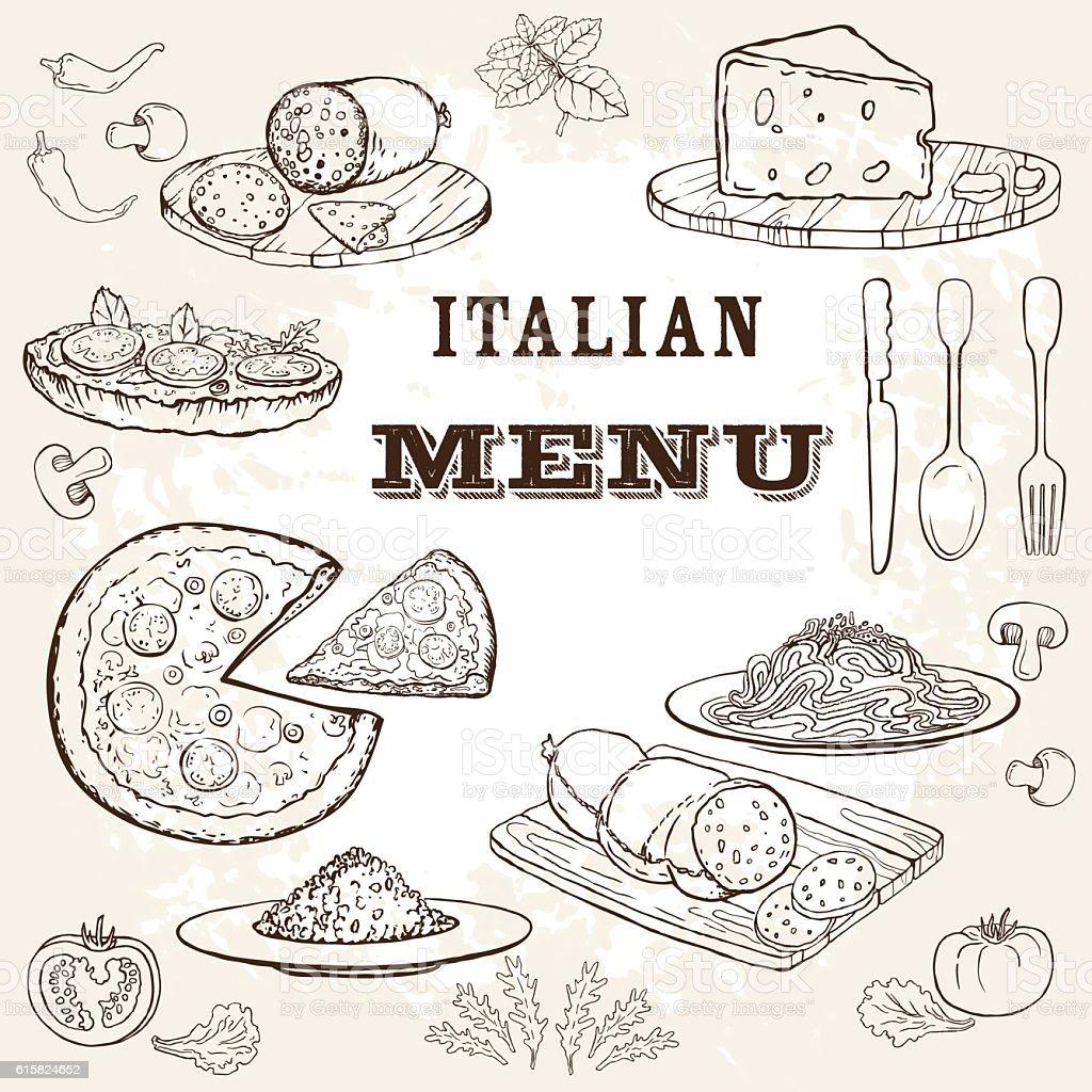 Italian menu-1 vector art illustration