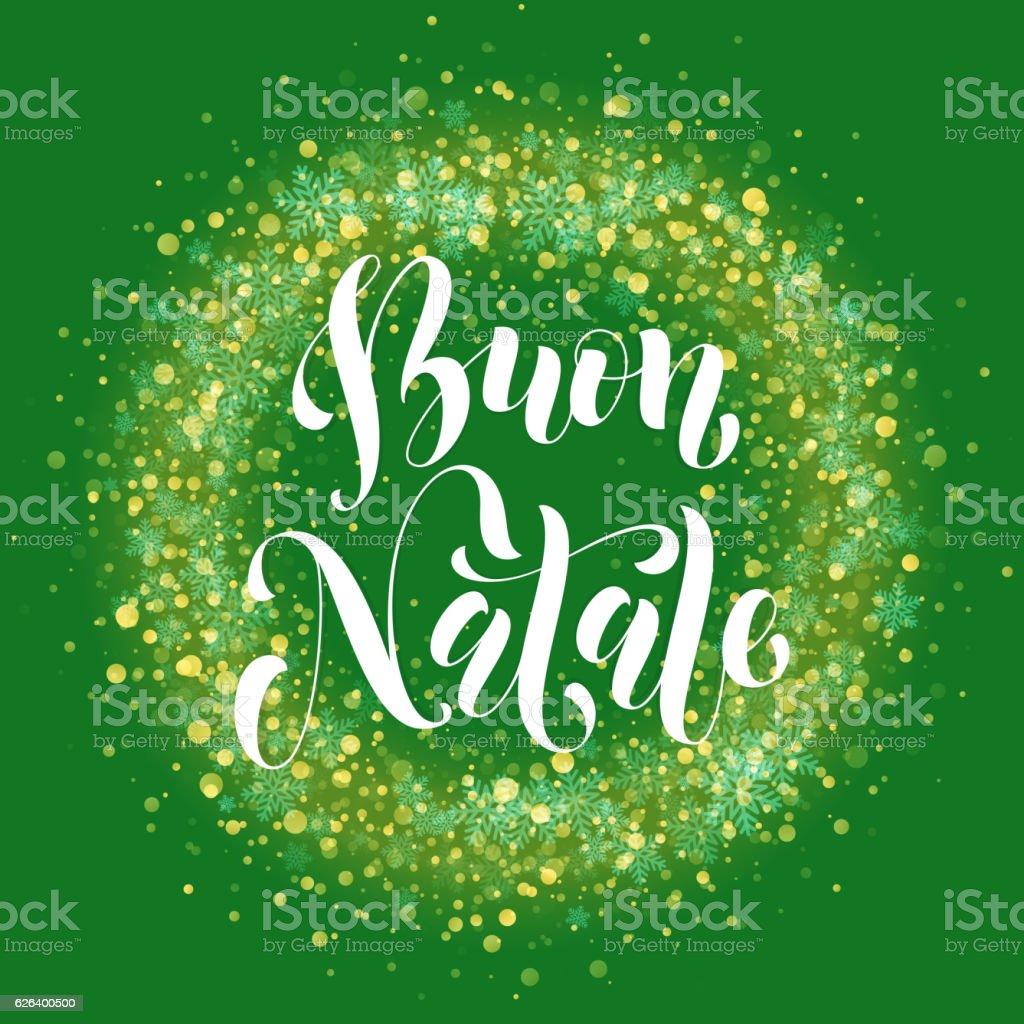 Buon Natale Glitter.Italian Merry Christmas Text Buon Natale Decoration Snowflake