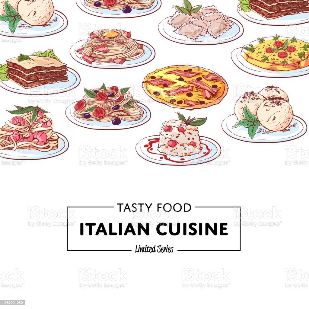 Italian national cuisine dishes poster vector art illustration