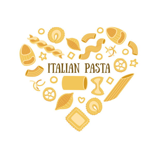 Italian Pasta Banner Template with Different Types of Traditional Pasta in Heart Shape, Can Be Used for Card, Menu, Packaging, Flyer, Certificate Vector Illustration Italian Pasta Banner Template with Different Types of Traditional Pasta in Heart Shape, Can Be Used for Card, Menu, Packaging, Flyer, Certificate Vector Illustration, Web Design. fusilli stock illustrations