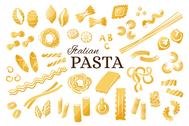 Italian pasta collection. Italian pasta collection. Vector isolated decorative elements for menu or package design. tortellini stock illustrations
