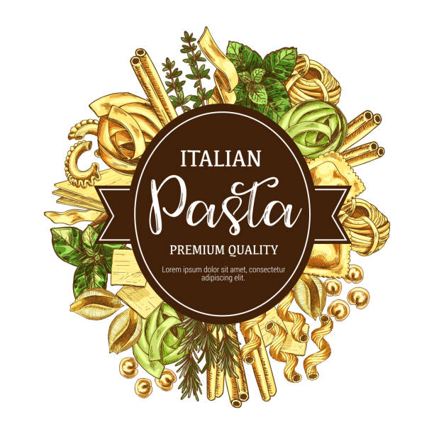 Italian pasta icon with pastry food and seasoning Italian pasta sketch poster for restaurant menu with cuisine from Italy. Vector spaghetti, fettuccine or farfalle and tagliatelle and traditional lasagna or ravioli with greenery or spices icon cannelloni stock illustrations