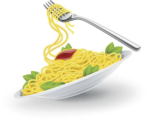 italienische pasta in teller mit gabel - spaghetti stock-grafiken, -clipart, -cartoons und -symbole
