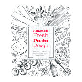 Italian pasta label. Hand drawn vector illustration. Collection of pasta different types. Italian food design template. Engraved sketch style. Logo for italian restaurant.