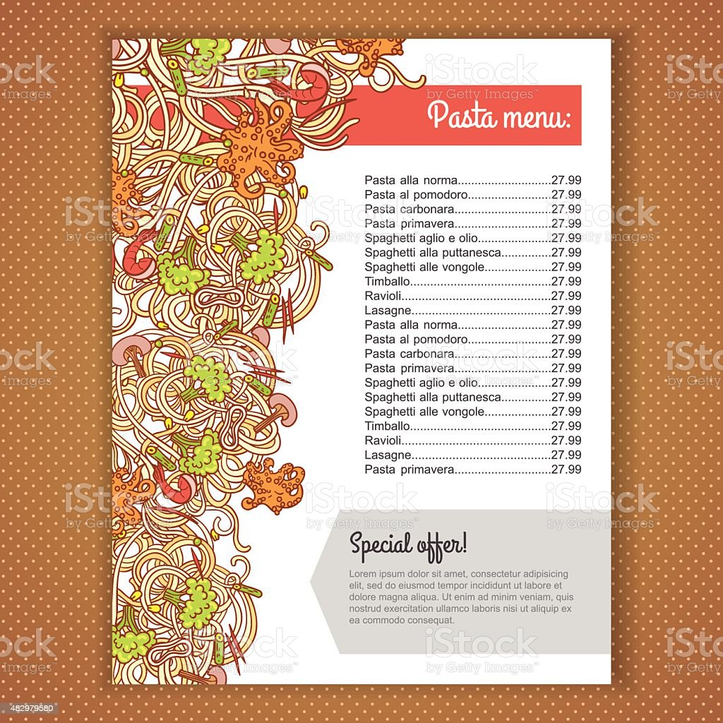 Italian pasta menu royalty-free italian pasta menu stock vector art & more images of 2015