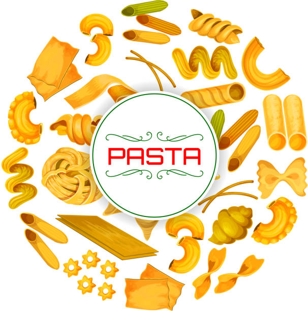 Italian pasta or macaroni vector poster Pasta poster of vector spaghetti and fettuccine, tagliatelle or bucatini, pappardelle and penne, farfalle and and lasagna, ravioli or creste gallo, stelle and filini of Italian food cuisine canelones stock illustrations