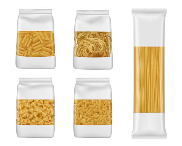 Italian pasta packs of penne, farfalle, spaghetti Pasta and Italian macaroni food package 3d vector mockups of foil and plastic bags with windows. Realistic templates of spaghetti, penne and farfalle, tagliatelle and elbow vermicelli packaging tortellini stock illustrations