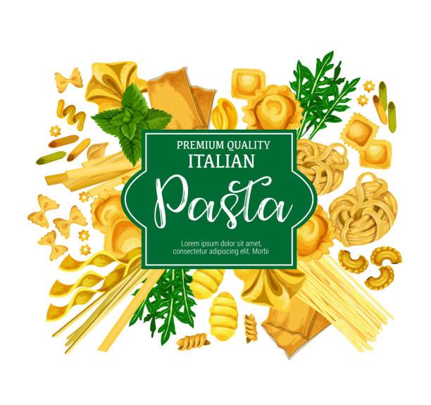 Italian pasta poster with macaroni food and herb Italian pasta poster with macaroni and fresh herb. Spaghetti, penne and farfalle, ravioli, lasagna and fettuccine, rigatoni, gnocchi and conchiglie, basil and arugula for mediterranean food design cannelloni stock illustrations