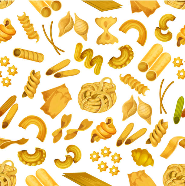 Italian pasta seamless pattern background Italian pasta seamless pattern background of spaghetti, macaroni, noodle, fusilli, farfalle, penne, ravioli and lasagna. Italian cuisine restaurant menu, food packaging design canelones stock illustrations