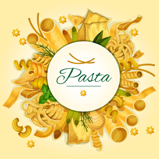 Italian pasta, spaghetti and macaroni banner Italian pasta, spaghetti and macaroni banner of traditional italian cuisine dried noodles with basil, spinach, dill and round badge with copy space. Restaurant menu, food design canelones stock illustrations