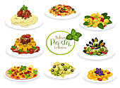 Pasta dishes of Italian cuisine. Vector spaghetti, macaroni and penne with meat tomato bolognese and cream cheese sauce, farfalle, ravioli and fusilli with pesto, meatball, seafood. Mediterranean food