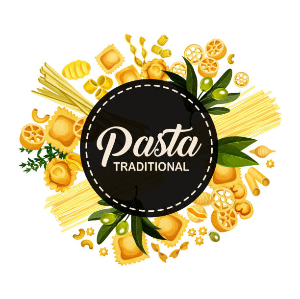 Italian pasta traditional cuisine, circle banner Italian pasta menu cover design, Italy traditional cuisine restaurant spaghetti, fettucine and ravioli. Vector pasta tagliatelle, lasagna or linguine and pappardelle with farfalle. Round banner tortellini stock illustrations