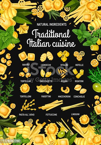 istock Italian pasta, traditional Italy food menu 1176242292