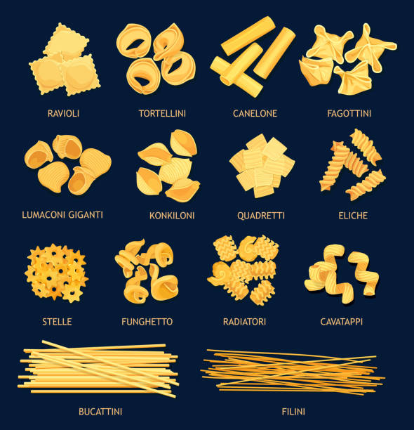 Italian pasta types, cuisine vector objects Italian cuisine pasta types. Vector ravioli and tortellini, canelone, fagottini, lumaconi giganti and kinkiloni. Quadretti, eliche, stelle and funchetto, radiatori and cavatappi, bucattini and filini tortellini stock illustrations