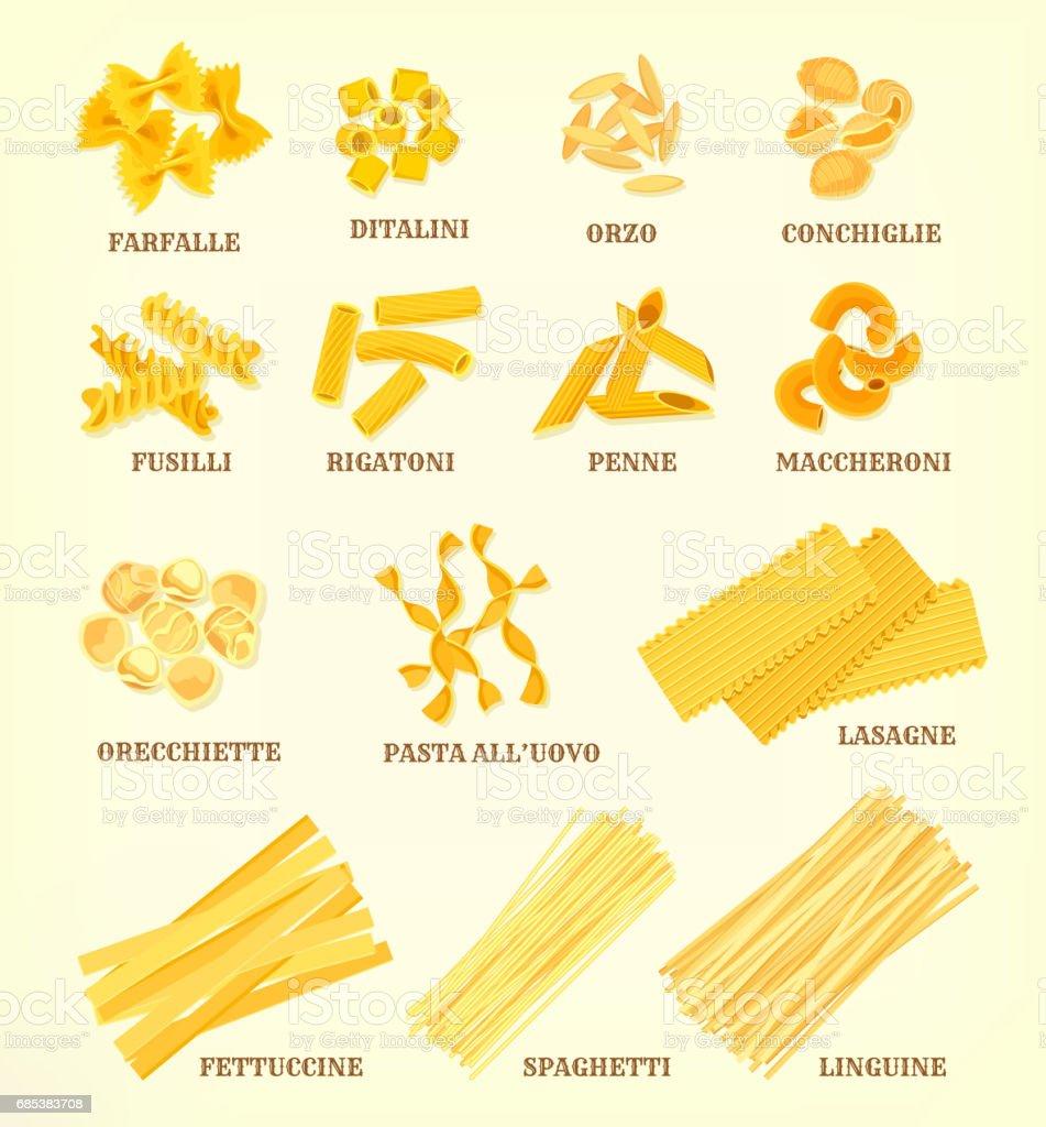 Italian pasta types or sorts vector icons italian pasta types or sorts vector icons - arte vetorial de stock e mais imagens de cereal royalty-free
