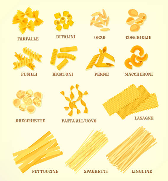illustrazioni stock, clip art, cartoni animati e icone di tendenza di italian pasta types or sorts vector icons - pasta