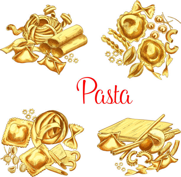 Italian pasta vector icons set for restaurant Pasta vector icons set of ravioli, lasagna or tagliatelle and spaghetti, durum hand crafted farfalle noodles, pappardelle macaroni or funghetto and penne with fettuccine pasta for Italian restaurant canelones stock illustrations