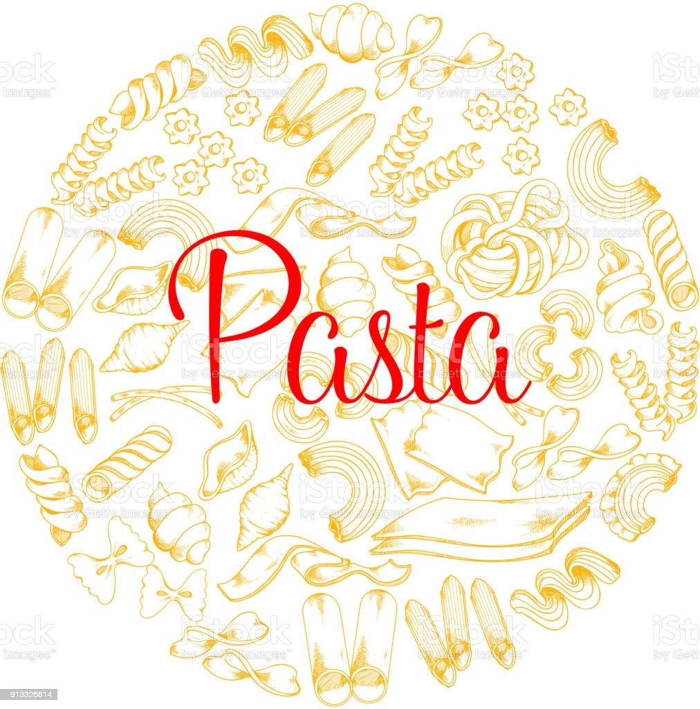 Italian pasta vector poster for restaurant vector art illustration
