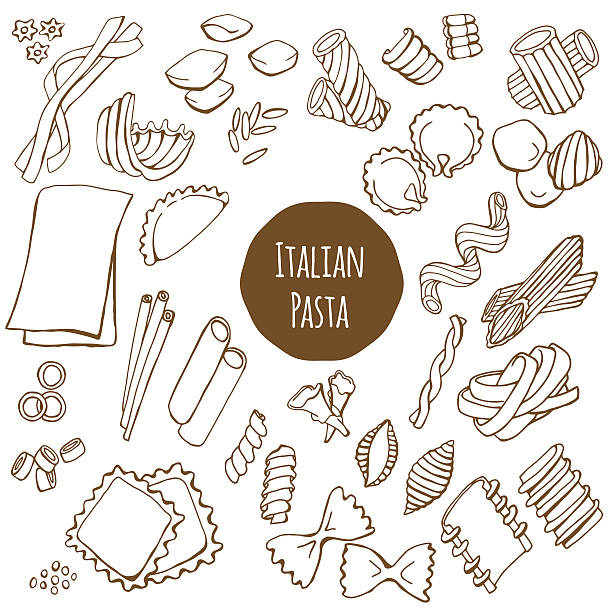 Italian Pasta Vector Set Italian pasta, hand drawn vector set isolated on white background ravioli stock illustrations
