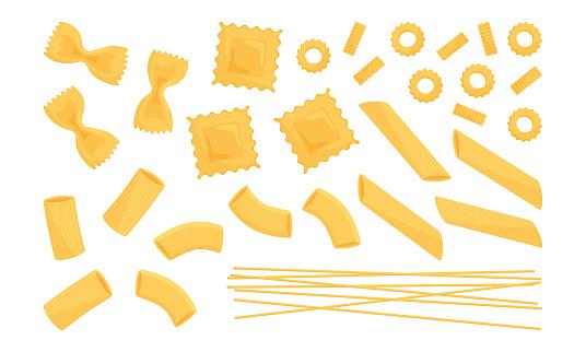 Italian pasta vector set. Wheat different types raw food. Macaroni, spaghetti, noodle, farfalle, penne, ravioli