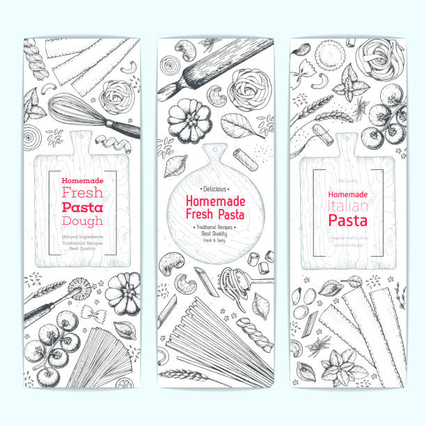 Italian pasta vertical banner set. Hand drawn vector illustration. Collection of pasta different types. Italian food design template. Engraved sketch style. Italian pasta vertical banner set. Hand drawn vector illustration. Collection of pasta different types. Italian food design template. Engraved sketch style. tortellini stock illustrations