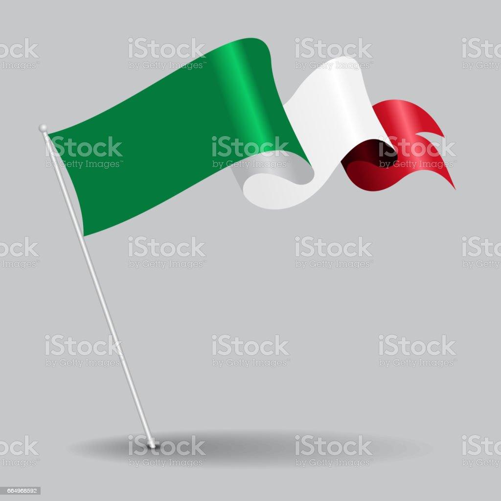Italian pin wavy flag. Vector illustration. vector art illustration