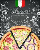 Italian pizza ads or menu with illustration rich toppings dough on engraved style chalk doodle background