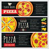 Italian pizza and pizzeria restaurant vector horizontal banners. Pizza flyers vector illustration