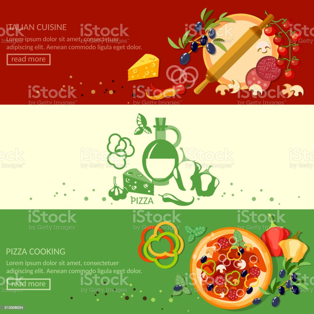Italian pizza cooking and ingredients banners vector art illustration