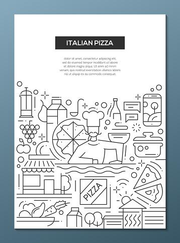 Italian Pizza - line design brochure poster template A4
