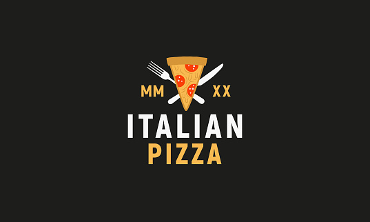 Italian Pizza logo isolated on black background. Modern flat design logo template. Pizza slices with fork and knife. Vector illustration