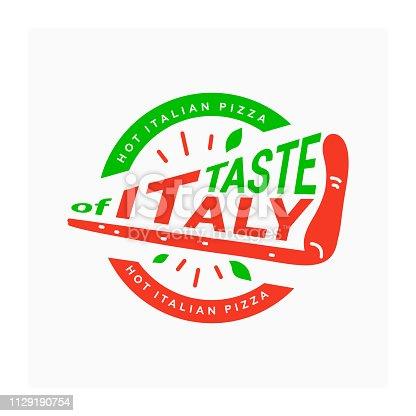 Emblem of traditional Italian dish. Hot Italian pizza